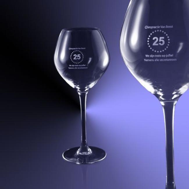 Witte wijn glas (35cl) gegraveerd met tekst