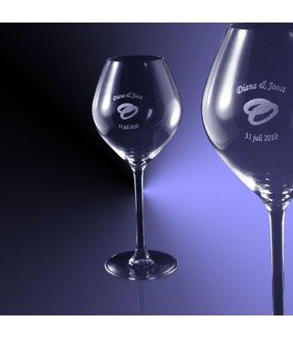 Witte wijn glas (47cl) gegraveerd met tekst