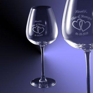 Rode wijn glas (62cl) gegraveerd met tekst