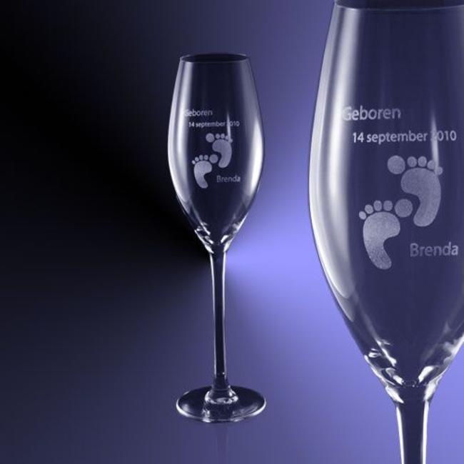 Champagne glas (24cl) gegraveerd met tekst