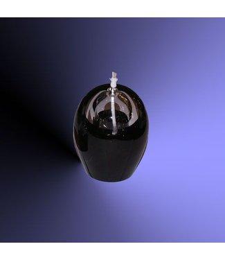 Olielamp Ovaal groot zwart glas