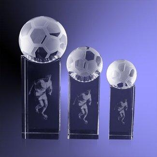 Voetbal op sokkel met 3D lasergravure
