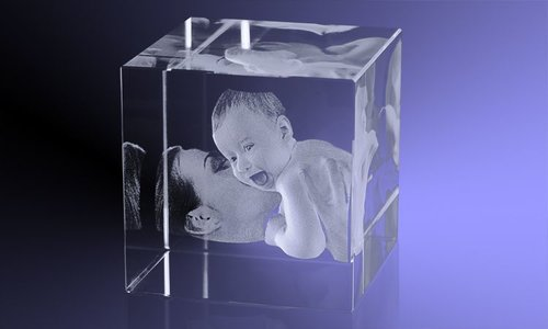 Zwangerschapcadeau: Kristal met 3D foto