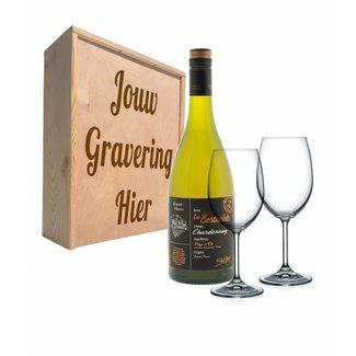 Wijnpakket met glazen - Les Bertholets Chardonnay