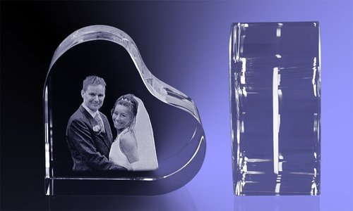 Valentijncadeau Kristal met 2D foto