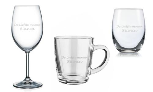 Moederdag cadeau glas graveren met tekst