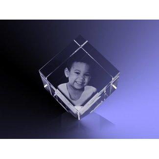2D foto in glas - Kubus 5 cm staand op hoek