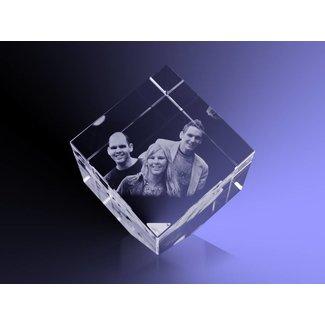 2D foto in glas - Kubus 6 cm staand op hoek