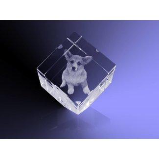 2D foto in glas - Kubus 8 cm staand op hoek