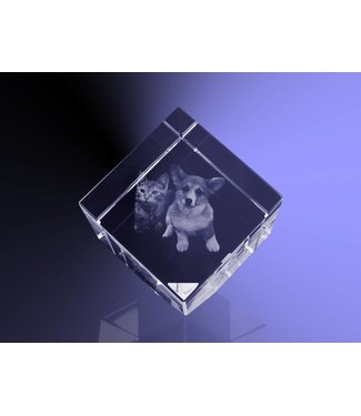 2D foto in glas - Kubus 10 cm staand op hoek