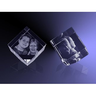 3D foto in glas - Kubus 8 cm staand op hoek