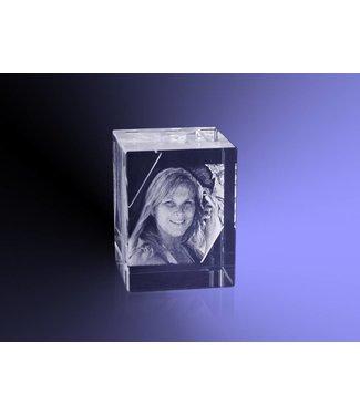 2D foto in glas  - Rechthoek blok 4x3x3 cm
