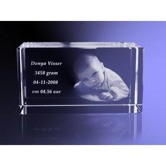 2D foto in glas - Rechthoek blok 8x8x12 cm