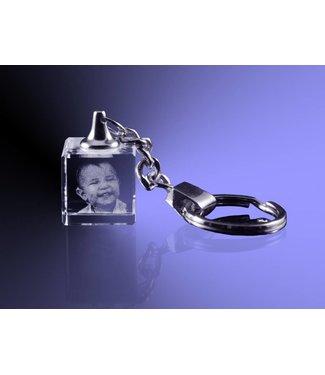 2D foto in glas - Sleutelhanger dobbelsteen