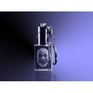 2D foto in glas - Sleutelhanger van glas met lampje