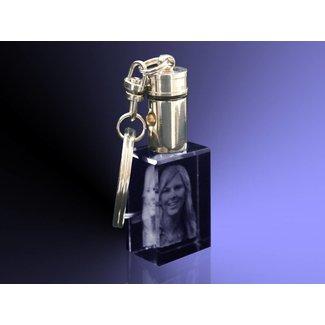 2D foto in glas - Sleutelhanger met licht en zwart glas