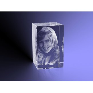 3D foto in glas - Rechthoek Blok - 3x3x4 cm