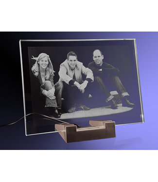 2D foto in glas - Vlakglas met verlichting -  180x130x8mm