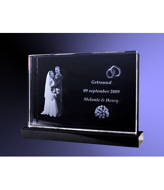 2D foto in glas - Vlakglas dubbel horizontaal met zwart glazen voet