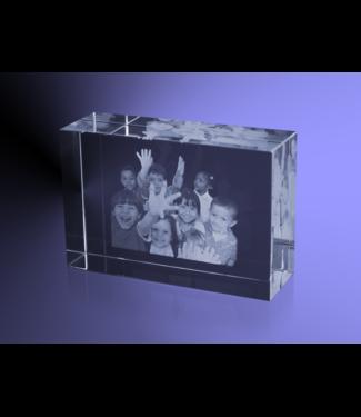 2D foto in glas - Rechthoek blok  6x9x3 cm