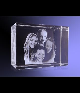 4-5 wd Kristal 2D Rechthoek 2D foto in glas - Rechthoek blok  20x15x10 cm