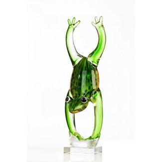 """Glassculptuur - """"Kikker- handstand"""""""