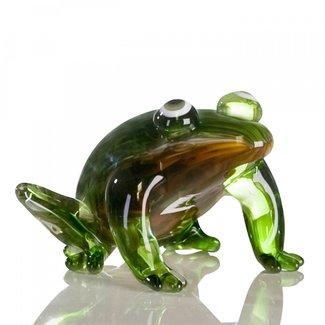 """Glassculptuur - """"Kikker zittend"""""""