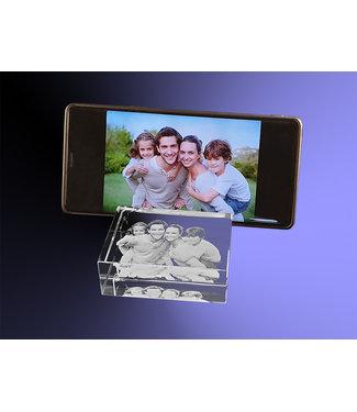 2D foto in glas - Telefoonstandaard - 8x8x3 cm