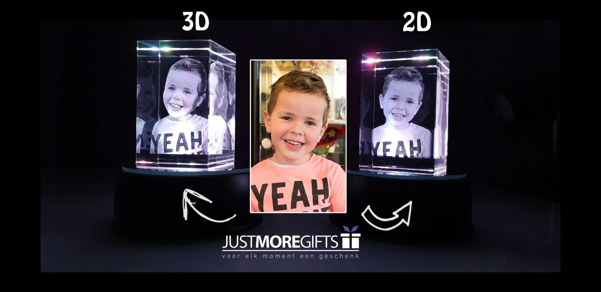 Verschil tussen 2D en 3D foto in glas