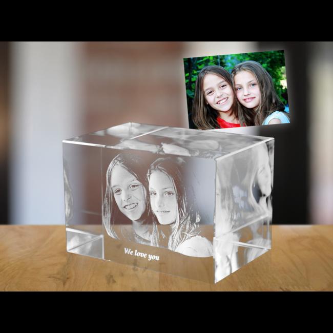 3D foto in glas - Rechthoek Blok - 5x5x8 cm