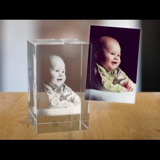 2D foto in glas - Rechthoek blok - 5x5x8 cm