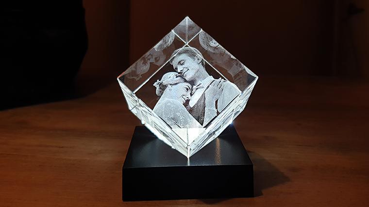 Foto in glas met verlichting
