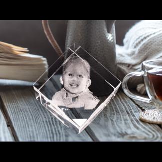 3D foto in glas - Kubus 5 cm staand op hoek