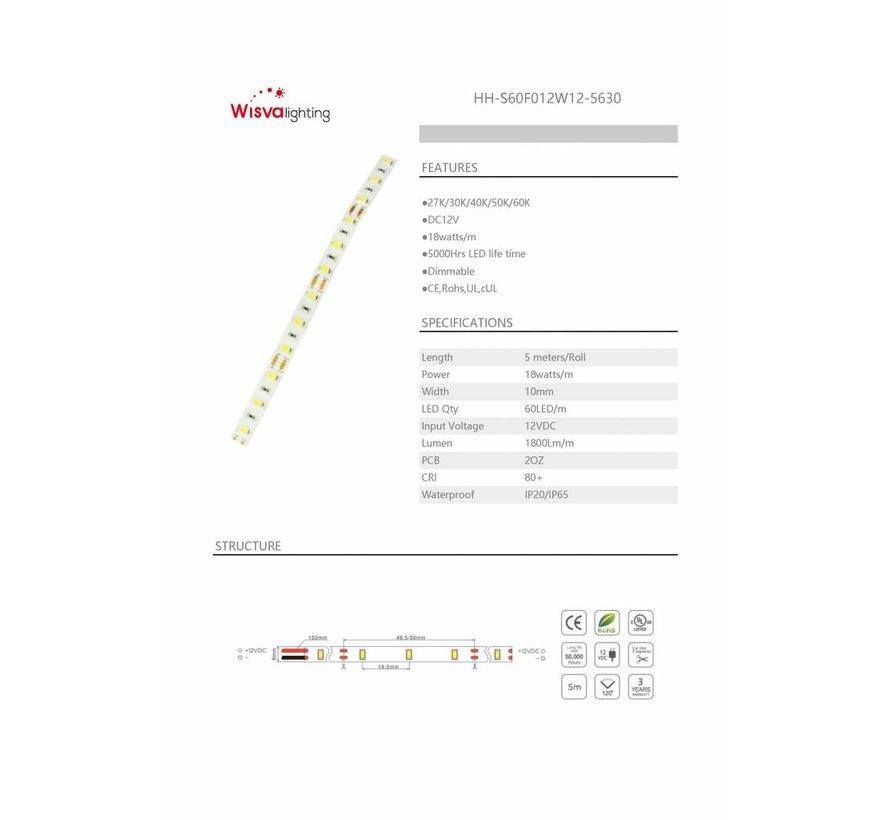 LED Strip 5630 Warm Wit Flexibel IP20