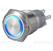 Puchbutton Switch with Illuminated Ring, Blue