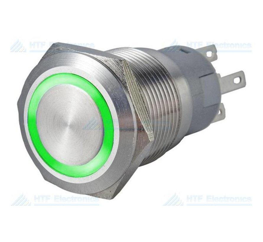 Pushbutton Switch with Illuminated Ring, Green