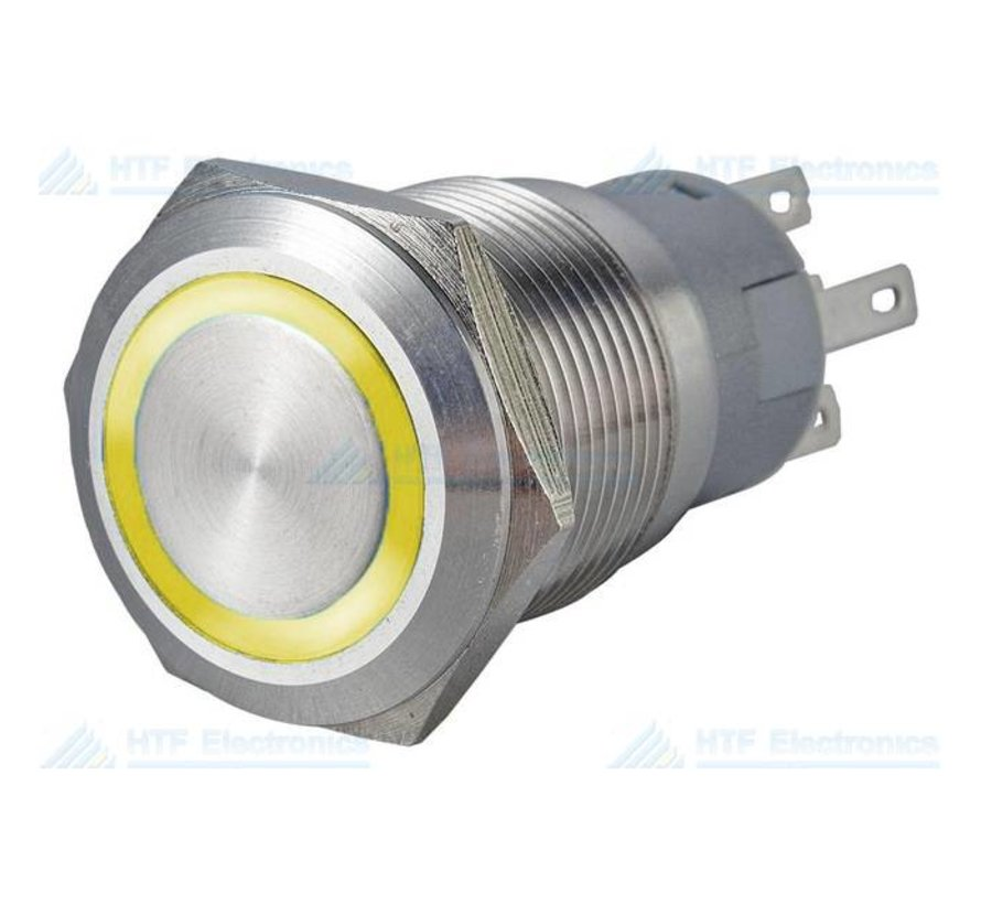 Pushbutton Switch with Illuminated Ring, Yellow