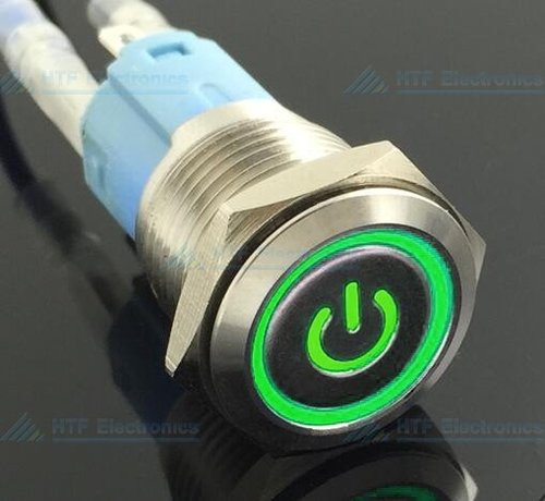 Pushbutton Latching Switch with illuminated Power sign and ring Green
