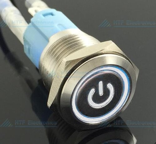 Pushbutton Latching Switch with illuminated Power sign and ring White