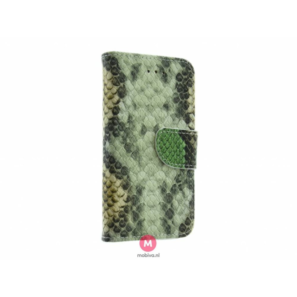 Mobiva iPhone 5/5S/SE Mobiva Book Case SnakeSkin Groen