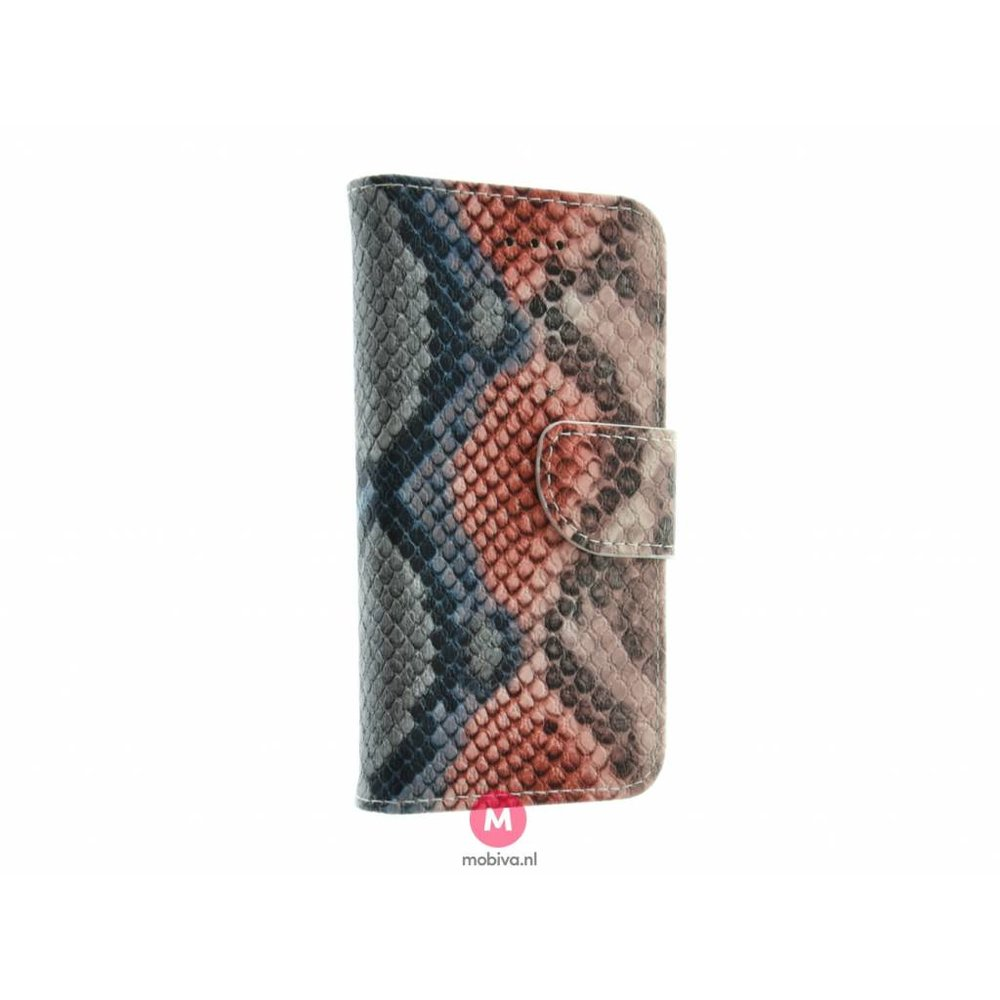 Mobiva iPhone 5/5S/SE Mobiva Book Case SnakeSkin Orange