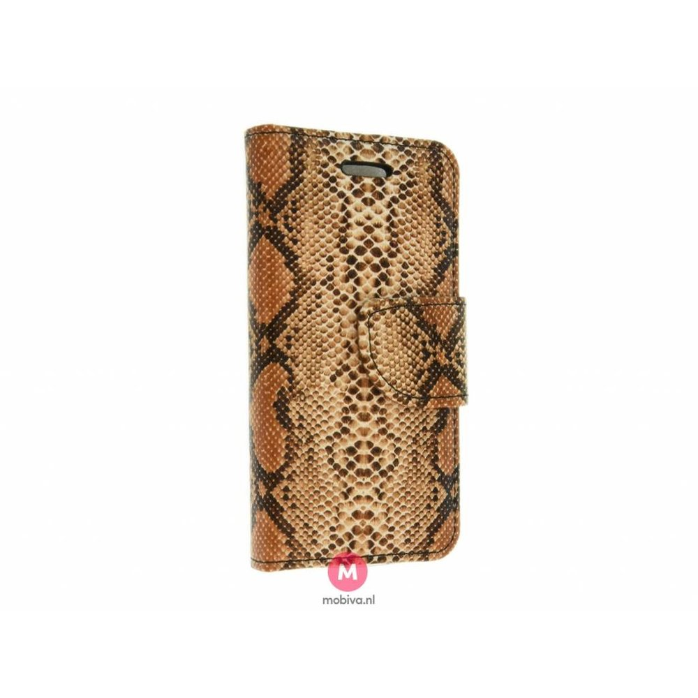 Mobiva iPhone 5/5S/SE Book Case SnakeSkin Bruin