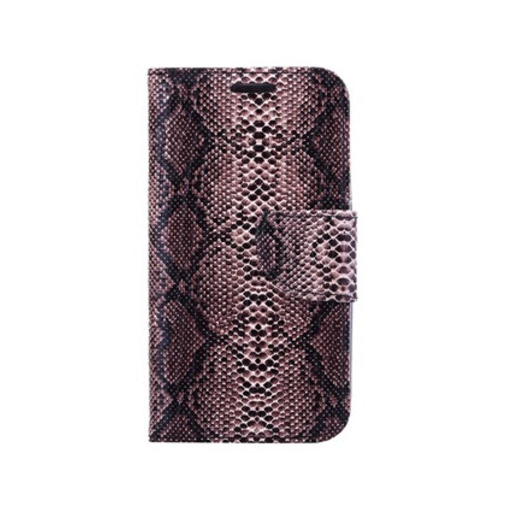 Mobicase Huawei P8 Book Case Snake Skin Bruin