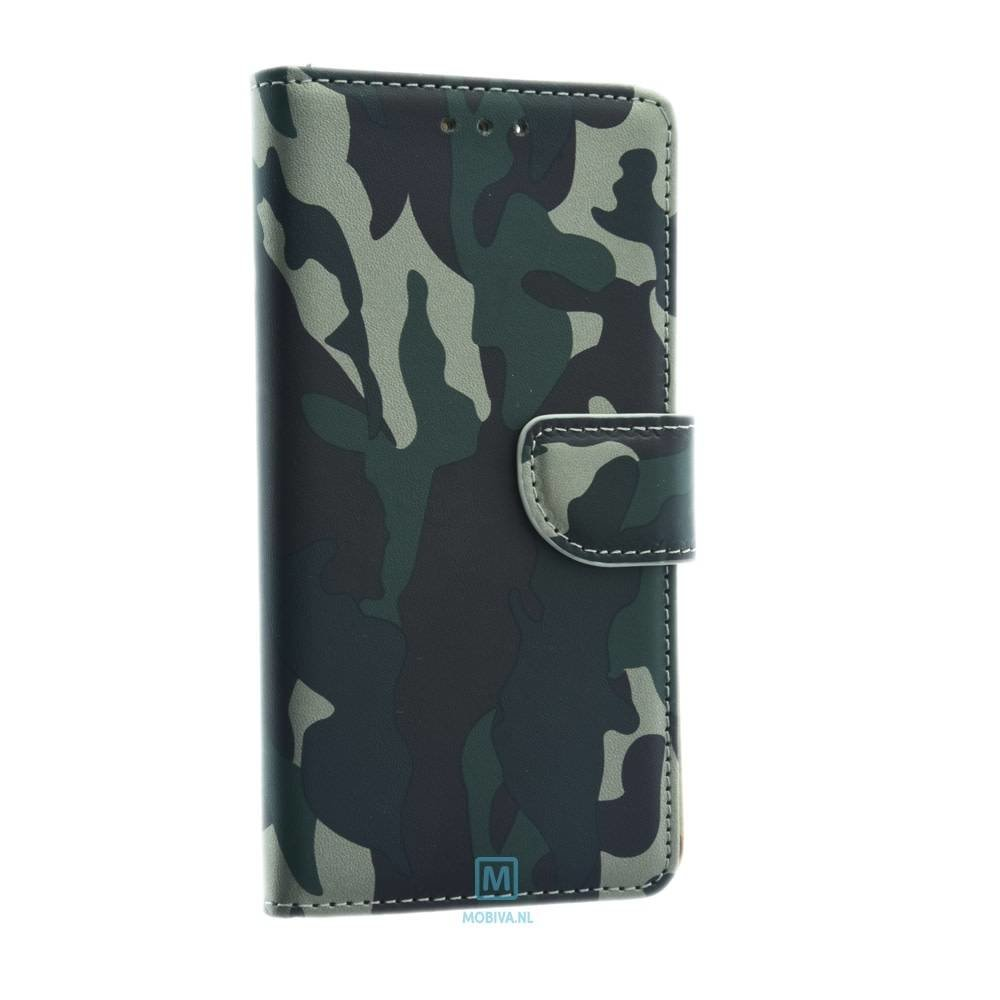 Mobicase Huawei P10 Lite Book Case Camo Groen