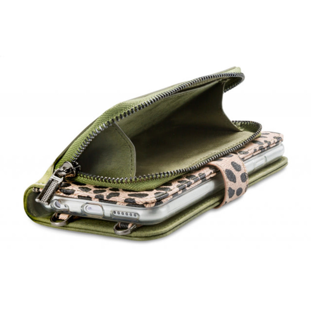 Mobilize Mobilize 2in1 Gelly Wallet Zipper Case Apple iPhone 6/6S/7/8 Olive/Leopard