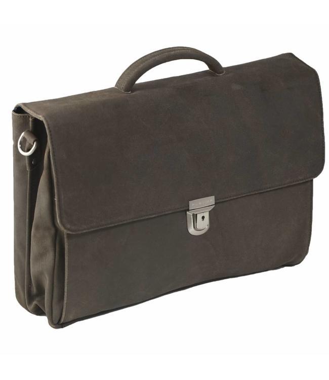 "Plevier 36 Aktetas 2-vaks laptop 17.3"" bruin"