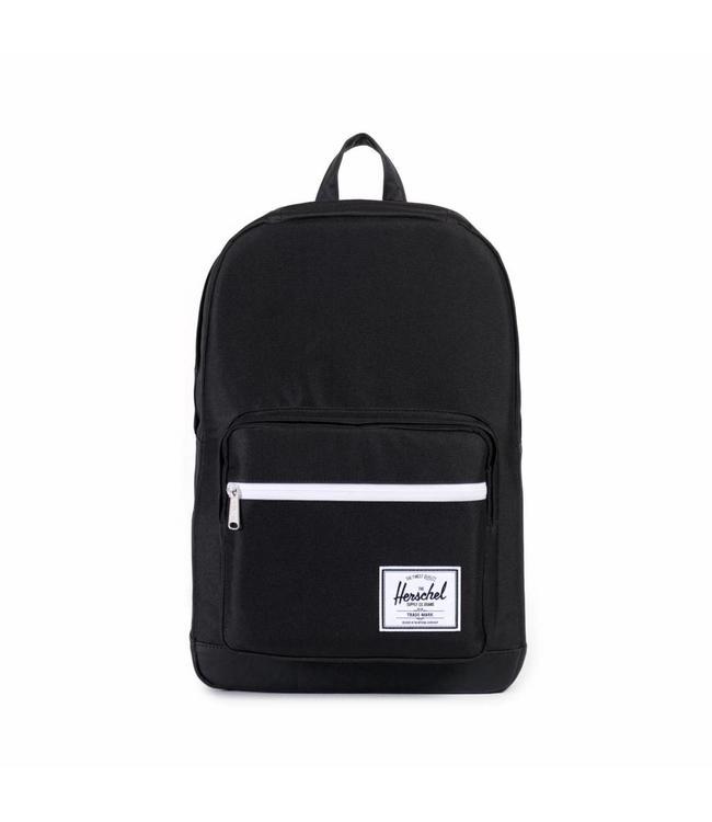 Herschel Pop Quiz black/black synthetic leather-rugzak met laptop vak