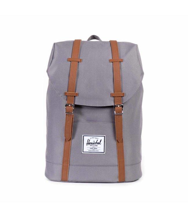 "Herschel Retreat grey/tan synthetic leather-grijze 15.6"" laptoprugzak"