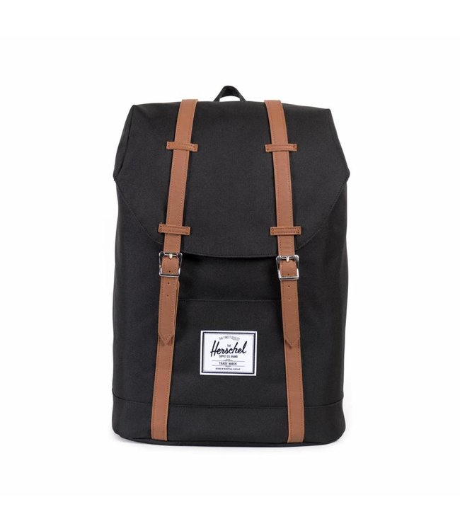 "Herschel Retreat black/tan synthetic leather-zwarte 15.6"" laptop rugzak"