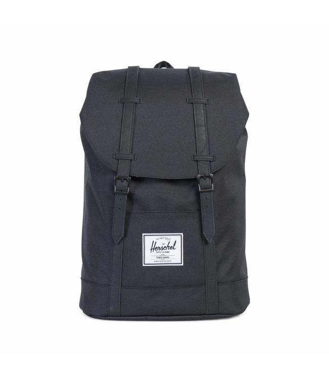 Herschel Retreat black/black synthetic leather-zwarte rugzak met laptopvak